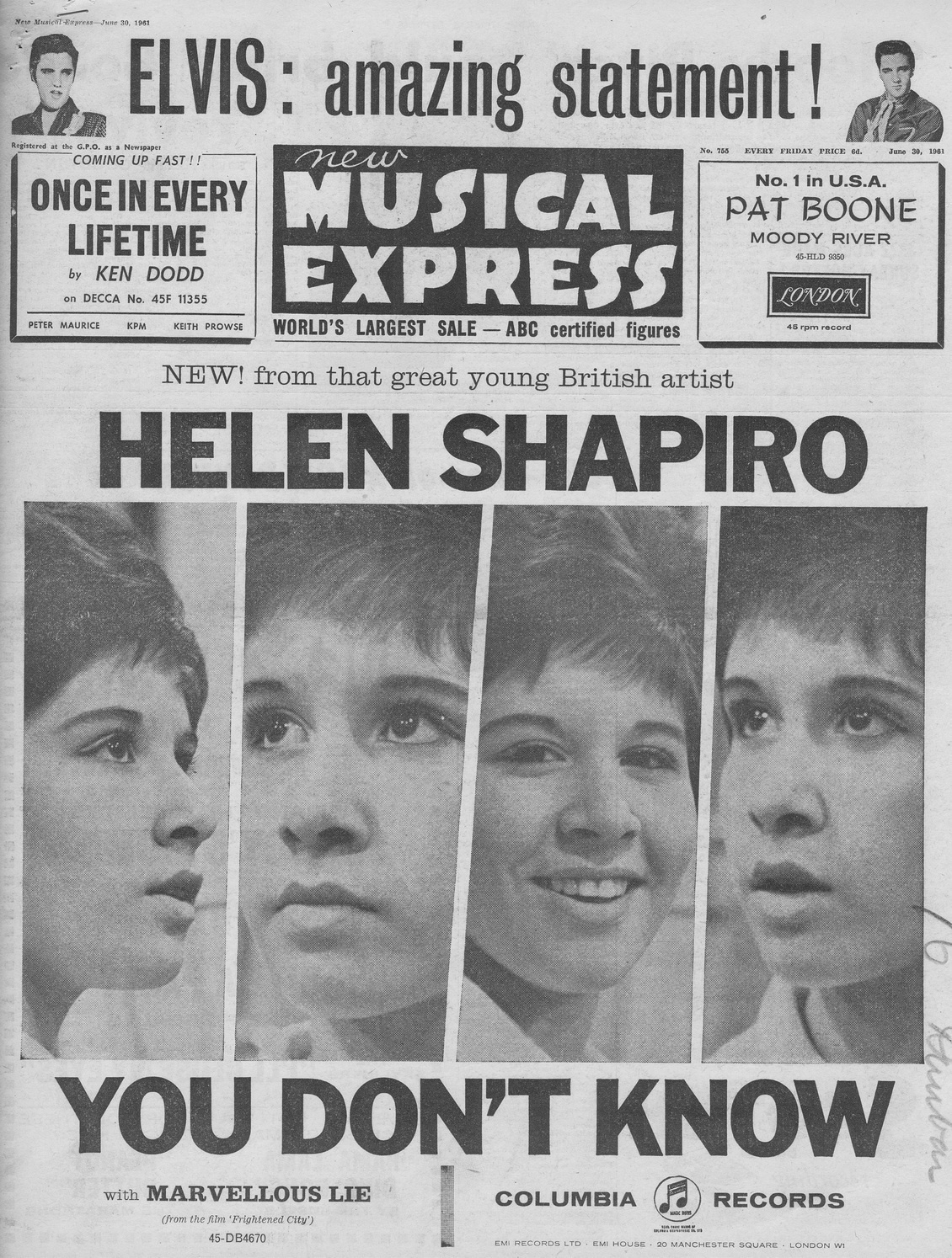 New Musical Express 30th June 1961
